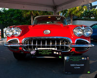 A 1959 Chevrolet Corvette is on car display of Emirates Classic Car Festival Stock Image