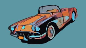 Chevrolet Corvette enorm tecknad filmbil stock illustrationer