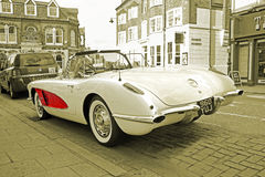Chevrolet corvette sepia. Photo of an american vintage classic chevrolet c1 corvette convertible parked in whitstable town taken 17th april 2017 Stock Photo