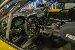 Chevrolet Corvette Z06 R en la demostraci?n de coche montjuic del circuito de Barcelona del alcohol imagen de archivo