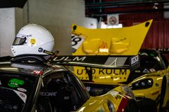 Chevrolet Corvette Z06 R in montjuic spirit Barcelona circuit car show royalty free stock photos