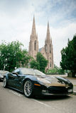 Chevrolet Corvette ZR 1 luxury sport car. Parked with St Paul church towers in backgroundl. Between 2008-2014 only 4,684 were produced Royalty Free Stock Photography
