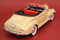 Chevrolet Deluxe 1941. 1941 Chevrolet Deluxe, Eagle Collectibles by Universal Hobbies 1:18 scale diecast, right rear view, high angle stock photos