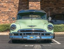 1950 Chevrolet Deluxe Mist Green - Front. Upland, United States of America - July 29, 2017: 1950 Mist Green Chevrolet appears in spontaneous classic car show in stock image