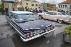 1960 Chevrolet Impala 4-Door Hardtop Sedan. Every Wednesday during the months of May to August there is a veteran car meeting with American cars at the fish Stock Photo
