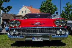 Chevrolet Impala 1958 old timer car. BORGHOLM, SWEDEN - MAY 23, 2015: Old timer car Chevrolet Impala, 1958, at the old timer car meeting in the town of Borgholm Royalty Free Stock Image