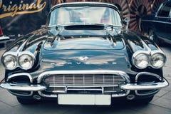 Chevrolet korwety Błękitni retro samochody stara próbka zdjęcia royalty free