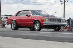 Chevrolet malibu. Napierville may 30-31, 2015 front side view of chevrolet malibu drag car on the track at the starting line during festidrag event Royalty Free Stock Photo