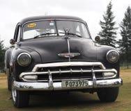Chevrolet negro restaurado en Playa Del Este Cuba Foto de archivo