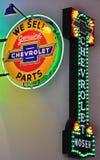Chevrolet neontecken för inbjudan Royaltyfri Foto
