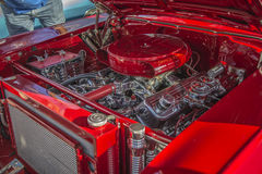 1957 Chevrolet Nomad Station Wagon, details engine. Every Wednesday during the months of May to August there is a veteran car meeting with American cars at the Royalty Free Stock Photos