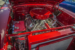 1957 Chevrolet Nomad Station Wagon, details engine. Every Wednesday during the months of May to August there is a veteran car meeting with American cars at the Royalty Free Stock Photo