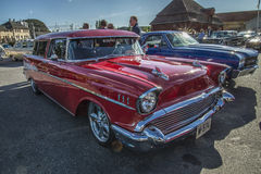 1957 Chevrolet Nomad Station Wagon. Every Wednesday during the months of May to August there is a veteran car meeting with American cars at the fish market in Royalty Free Stock Photography
