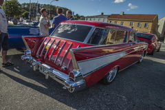 1957 Chevrolet Nomad Station Wagon. Every Wednesday during the months of May to August there is a veteran car meeting with American cars at the fish market in Stock Photography