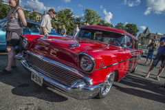 1957 Chevrolet Nomad Station Wagon. Every Wednesday during the months of May to August there is a veteran car meeting with American cars at the fish market in Royalty Free Stock Image