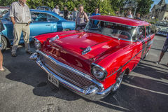 1957 Chevrolet Nomad Station Wagon. Every Wednesday during the months of May to August there is a veteran car meeting with American cars at the fish market in Stock Photos