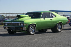 Drag car. Picture of green chevrolet nova drag car during car show Royalty Free Stock Images