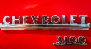 1950 Chevrolet 3100 Pick-upnaambord Stock Afbeelding