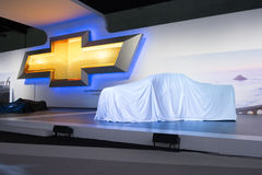 Chevrolet press conference to debut car Stock Images