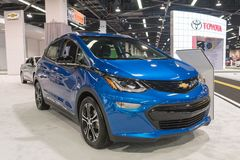 Chevrolet rygiel EV na pokazie Obrazy Stock