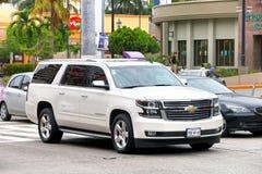 Chevrolet Suburban. Acapulco, Mexico - May 30, 2017: White motor car Chevrolet Suburban in the city street Stock Photo
