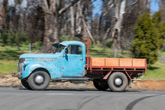 1946 Chevrolet 1421 Truck driving on country road. Adelaide, Australia - September 25, 2016: Vintage 1946 Chevrolet 1421 Truck driving on country roads near the Stock Photos