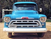 Chevrolet Truck. An old classic pickup truck, the 1957 Chevrolet in blue and white Stock Image