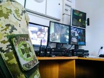 Chevron auf der Uniform mit der Bezeichnung der Grenztruppen von Ukraine stockfoto