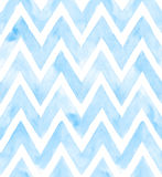 Chevron of blue color on white background. Watercolor seamless pattern for fabric.  Stock Image