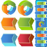 Chevron Circular 3D Menu Icons. Set of colorful 3D business icons Royalty Free Stock Photos