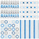 Chevron crosses dots and stripes blue seamless pattern set Royalty Free Stock Photo
