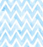 Chevron der blauen Farbe auf weißem Hintergrund Nahtloses Muster des Aquarells für Gewebe Stockbild
