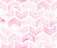 Chevron der hellrosa Farbe auf weißem Hintergrund Nahtloses Muster des Aquarells für Gewebe Stockbilder