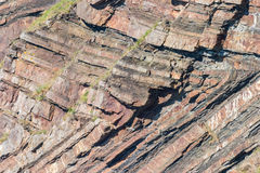 Chevron folding in geological strata at Millook Haven near Crack Stock Photo