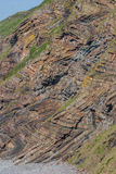 Chevron folding in geological strata at Millook Haven near Crack. Ington Haven in Cornwall. Part of the Culm Measures area of Cornwall Stock Photo