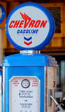 Chevron gas pump sign. WILLIAMS ARIZONA APRIL 15: Chevron gas pump sign on april 15 2014 in Williams Arizona.Chevron Corporation is an American multinational stock image