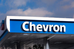Chevron Gas Station Canopy and Sign Royalty Free Stock Photo