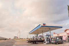 Chevron gas station and convenience store in Humble, Texas, USA. HUMBLE, TX, US-FEB 6, 2017:Chevron gas station and convenience store at street corner near Sam stock photography