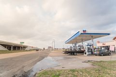 Chevron gas station and convenience store in Humble, Texas, USA. HUMBLE, TX, US-FEB 6, 2017:Chevron gas station and convenience store at street corner near Sam stock image