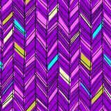 Chevron hand drawn seamless pattern bohemian 90s. Memphis abstract herringbone drawing ready for fashion textile print pink colors vector illustration stock illustration