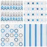 Chevron-Kreuzpunkte und blauer nahtloser Mustersatz der Streifen Lizenzfreies Stockfoto