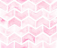 Chevron of light pink color on white background. Watercolor seamless pattern for fabric.  Stock Images