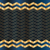 Chevron line Christmas blue golden card seamless pattern Royalty Free Stock Images