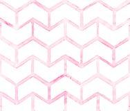 Chevron mit rosa Entwurf auf weißem Hintergrund Nahtloses Muster des Aquarells für Gewebe Stockfoto