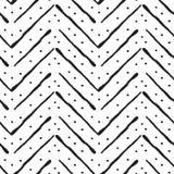 Chevron oder gezeichnetes Muster des Zickzacks Hand mit Punkt Stockbild