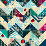 Chevron patchwork in nautical style with grunge Royalty Free Stock Images