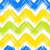 Chevron pattern hand painted with brushstrokes. Vector seamless chevron pattern hand painted with bold brushstrokes in bright multiple colors can be used for Royalty Free Stock Photo