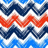 Chevron pattern hand painted with brushstrokes. Vector seamless chevron pattern hand painted with bold brushstrokes in bright nautical colors can be used for Royalty Free Stock Photography