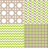 Chevron Pattern Herringbone Lattice Plaid. Summer Garden spring pattern chevron polka dots stripes and plaid designs, vector illustrations royalty free illustration