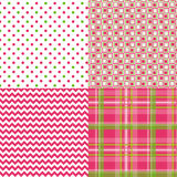 Chevron Pattern Plaid Dots Retro Vector. Cute pattern chevron plaid polka dots retro in spring colors pink and green and white Stock Photos
